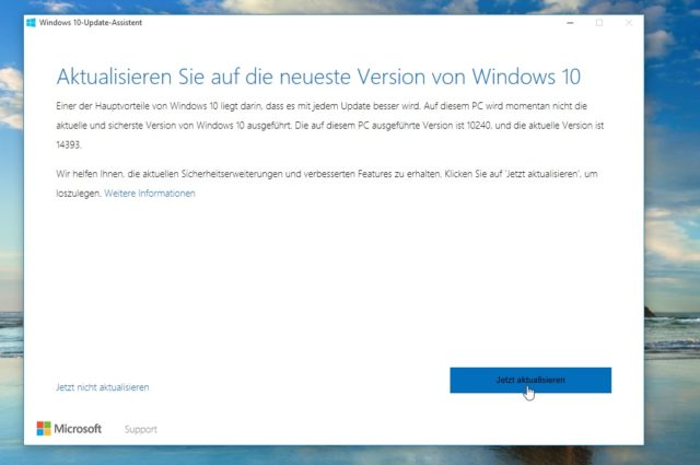 Per Microsoft-Tool holt Ihr Euch das Anniversary Update für Windows 10 manuell auf Euren Rechner