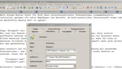 Bild von Notepad++ mit vorgegebenen Dateien starten