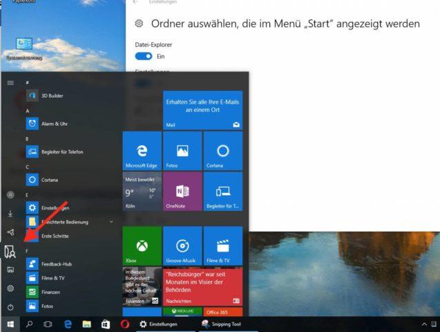 Startmenü von Windows 10