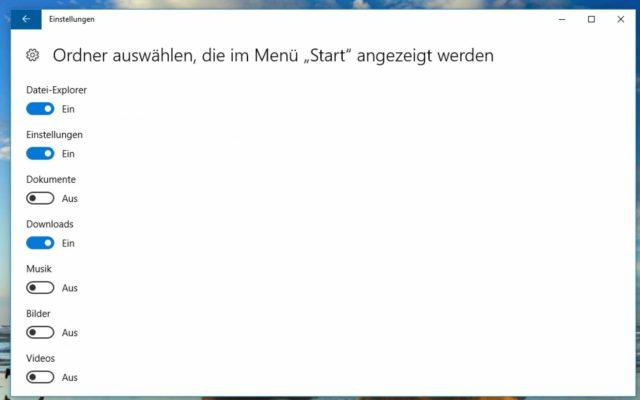 Windows 10 Startmenü Einstellungen