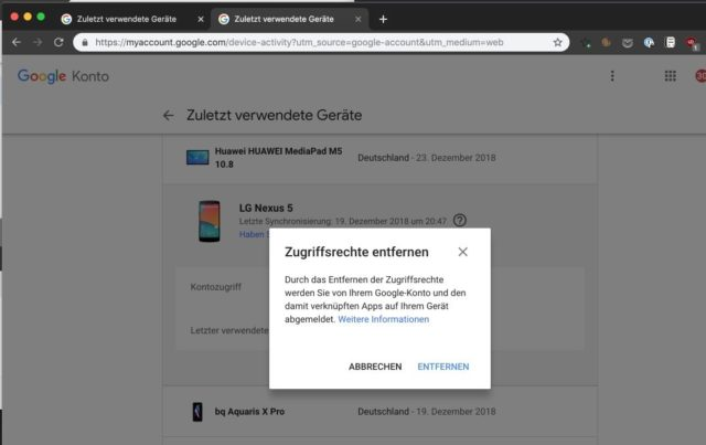 Google Android Zugriffsrechte entfernen