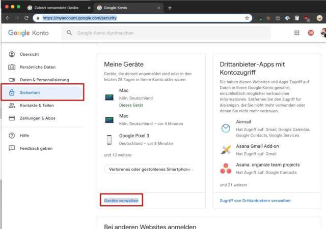Google-Konto Sicherheit verwalten