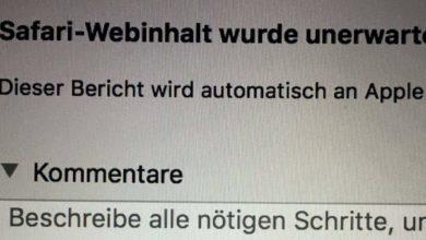 """Bild von Problem """"Safari-Webinhalt wurde unerwartet beendet"""" lösen"""