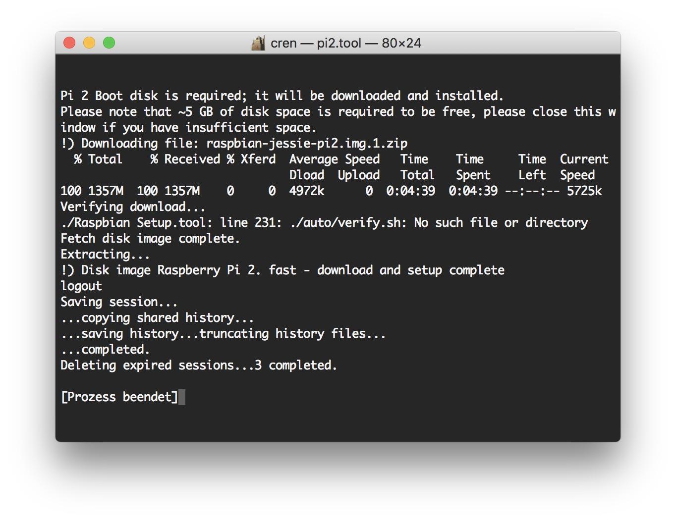 Der Download per CURL im Terminal kann eine Weile dauern.