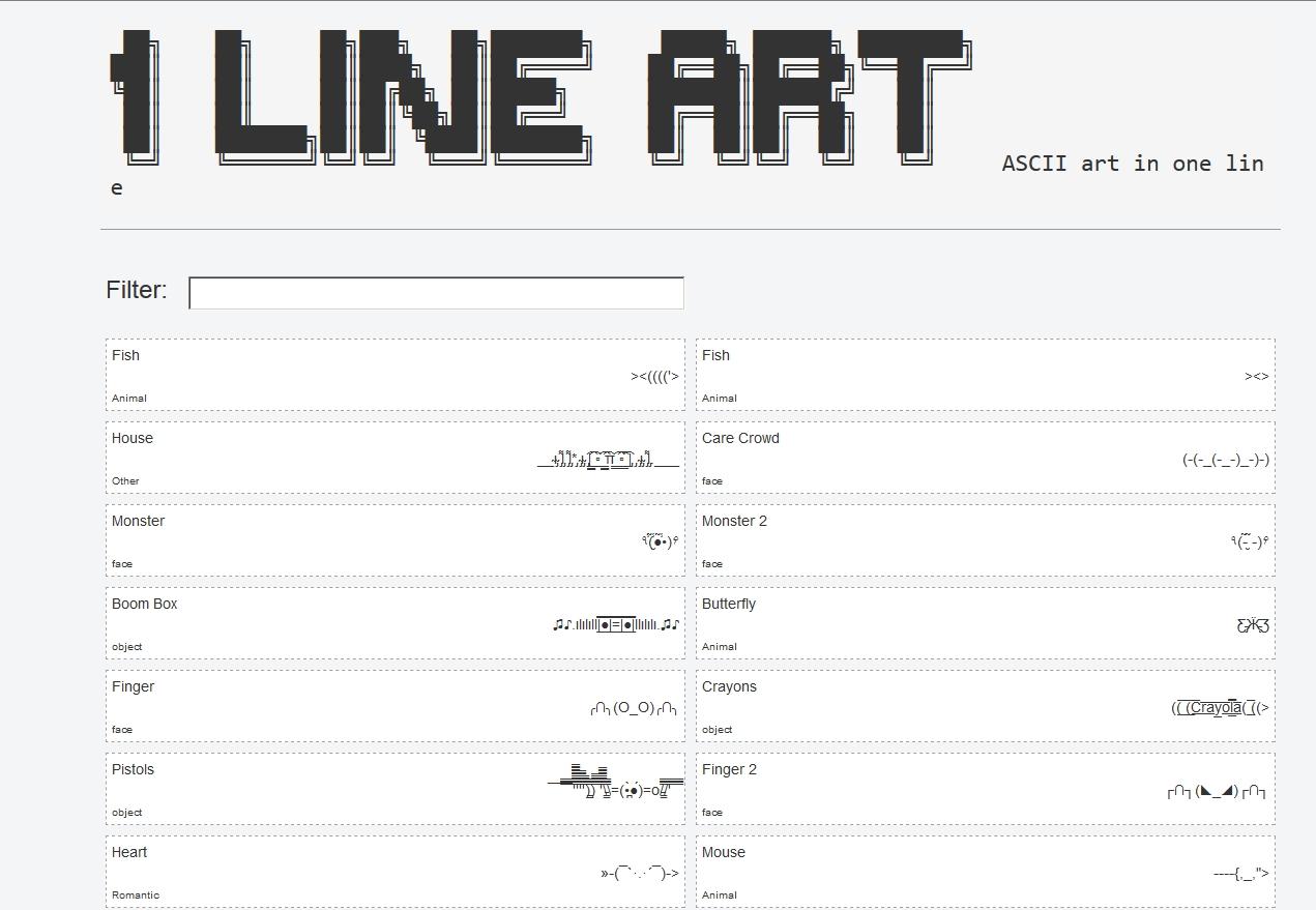 One Line Ascii Art For Texting : Ο ╭∩╮ der tutonaut