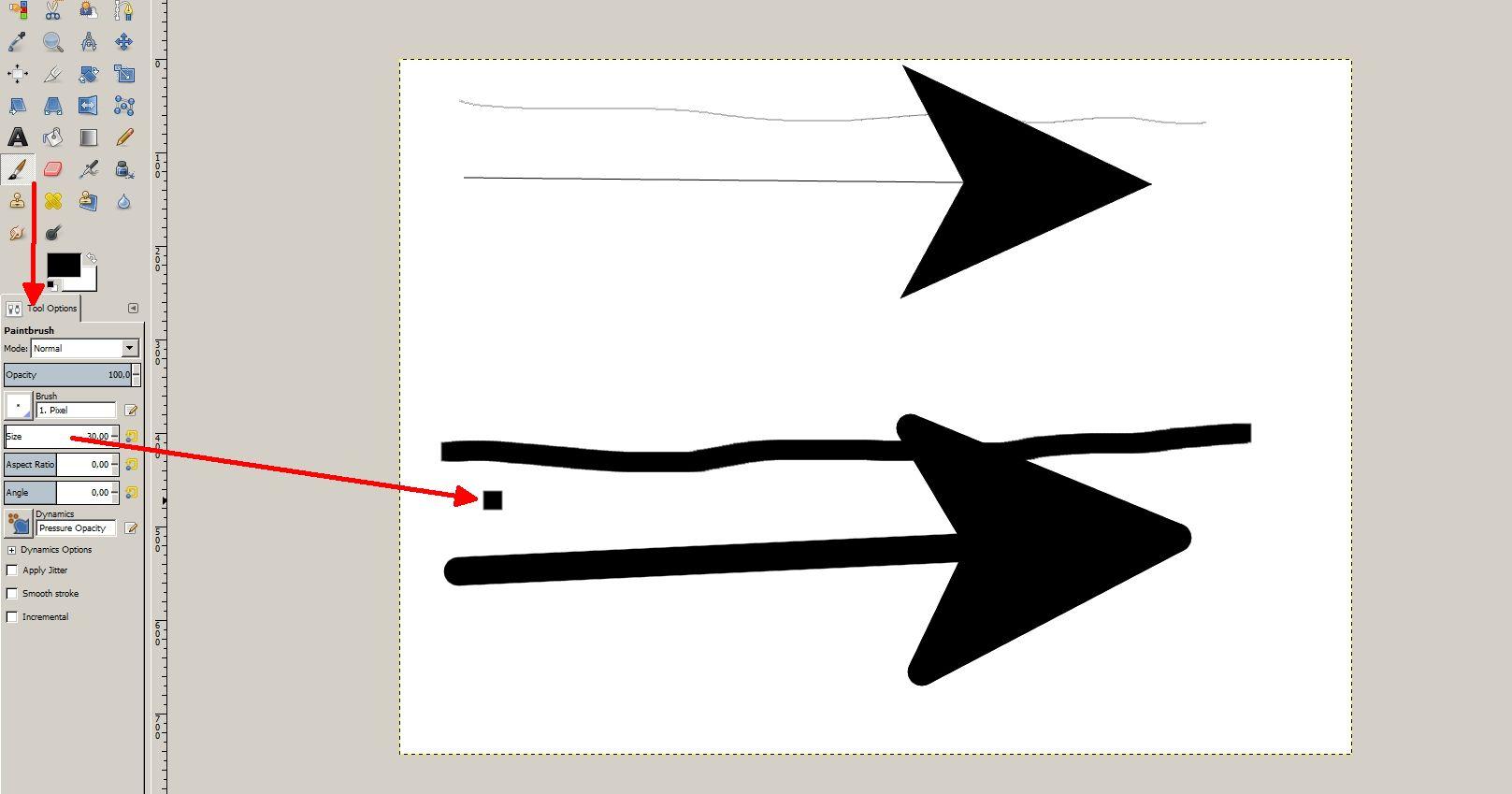 Das Pfeile-Tool übernimmt die normalen Pinseleinstellungen.