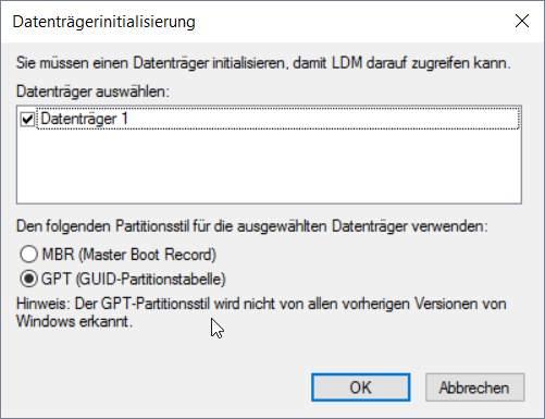 Festplatte initiliasieren