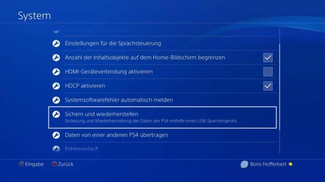 PS4 Sichern und wiederherstellen