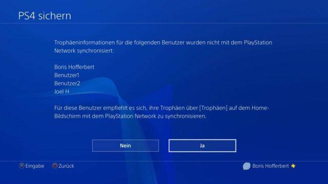 PS4 Trophäen sichern