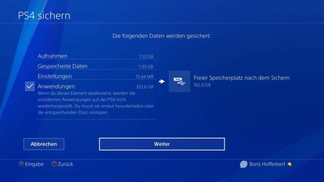 PS4-Backup Übersicht