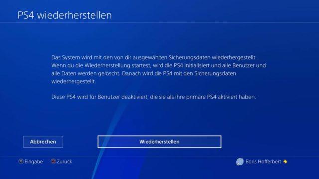 PS4 Wiederherstellung