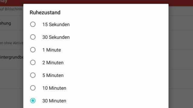 Display Timeout Android
