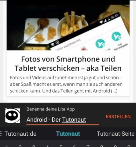 Lite Apps erstellen