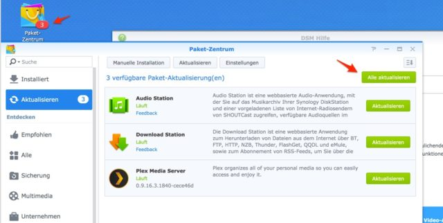 Synology Apps aktualisieren
