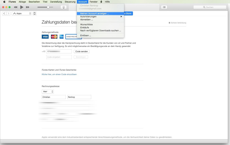 iTunes-Handyrechnung