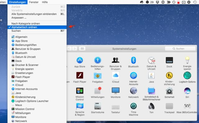 Systemeinstellungen macOS alphabetisch