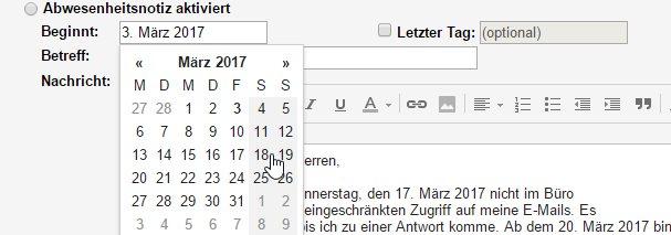 Datum Abwesenheitsnotiz