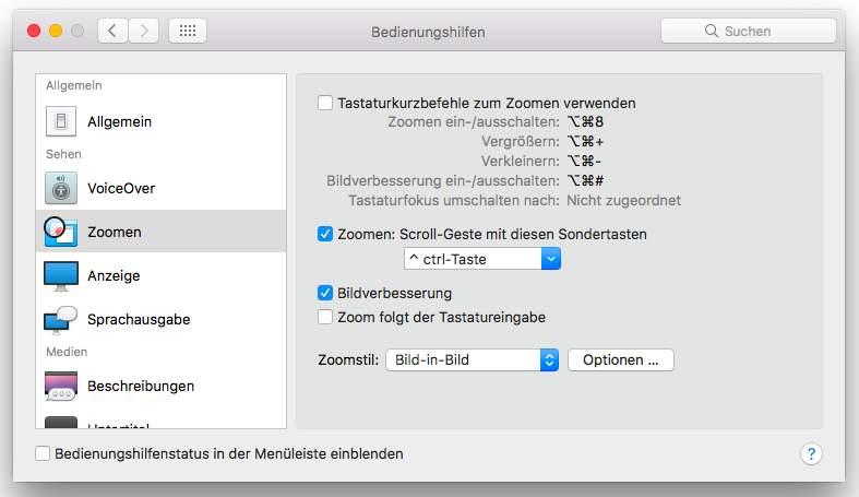 MacOS-Bedienhilfen
