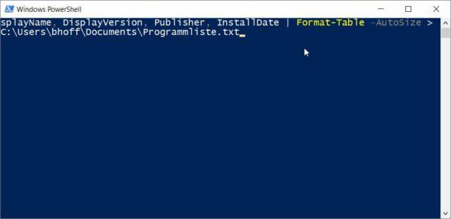 Powershell installierte Programme