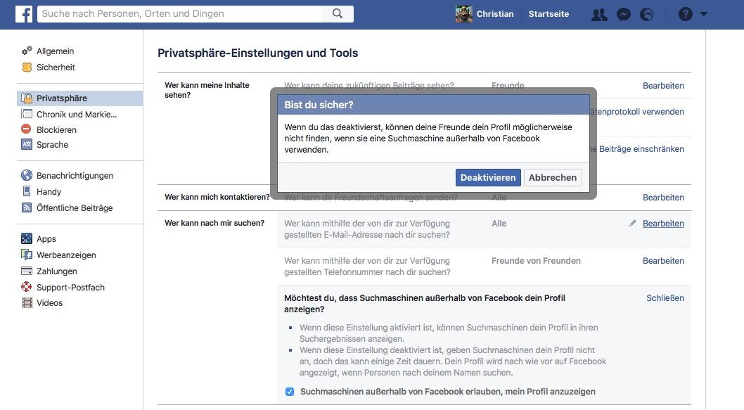 Facebook-Suchmaschinen