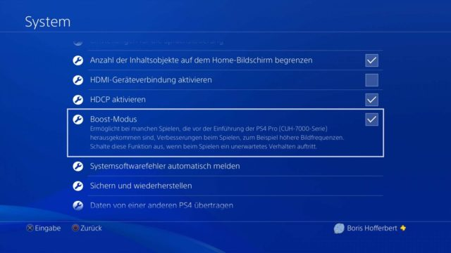 PS4 Boost-Modus