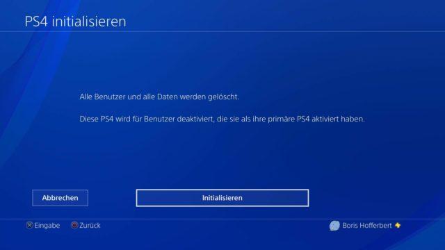 PS4 Werkseinstellungen