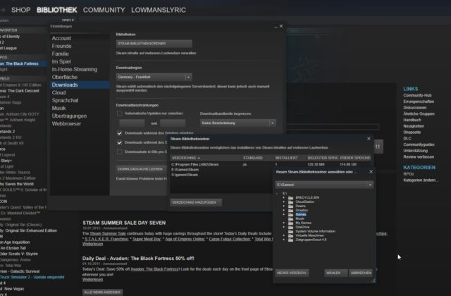 Steam INstallationsordner