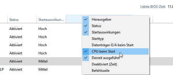 Windows 10 Startzeit