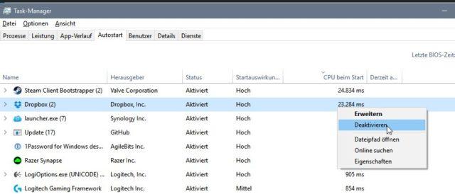 Windows 10 langsamer Start