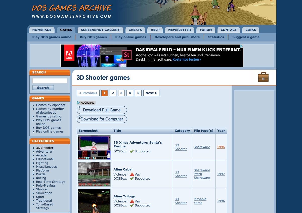 Websites wie Dosgamearchive haben eine reiche Auswahl an Freeware, Shareware und Demos für MS-DOS.
