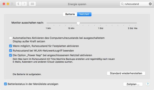 MacOS Energie sparen