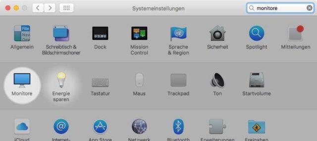 Systemeinstellungen Monitor