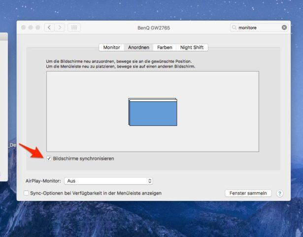 Mac Bildschirm synchronisieren