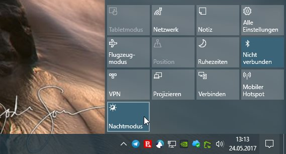 Blaulicht-Filter Windows 10