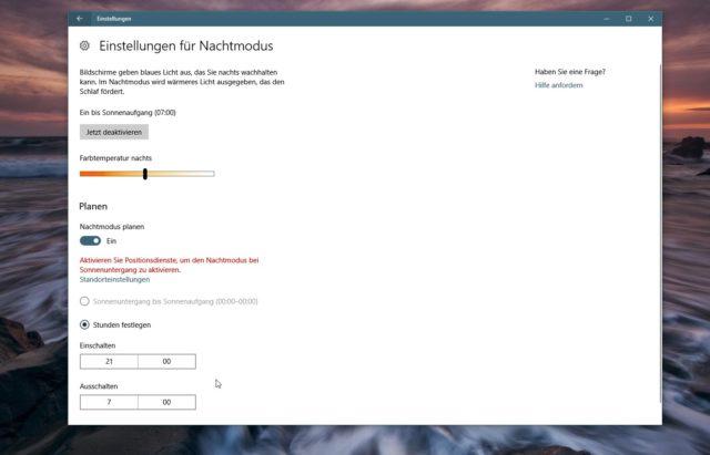 Windows 10 Nachtmodus planen