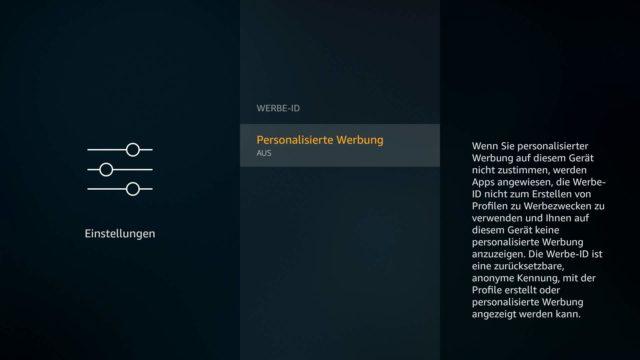 Fire TV personalisierte Werbung