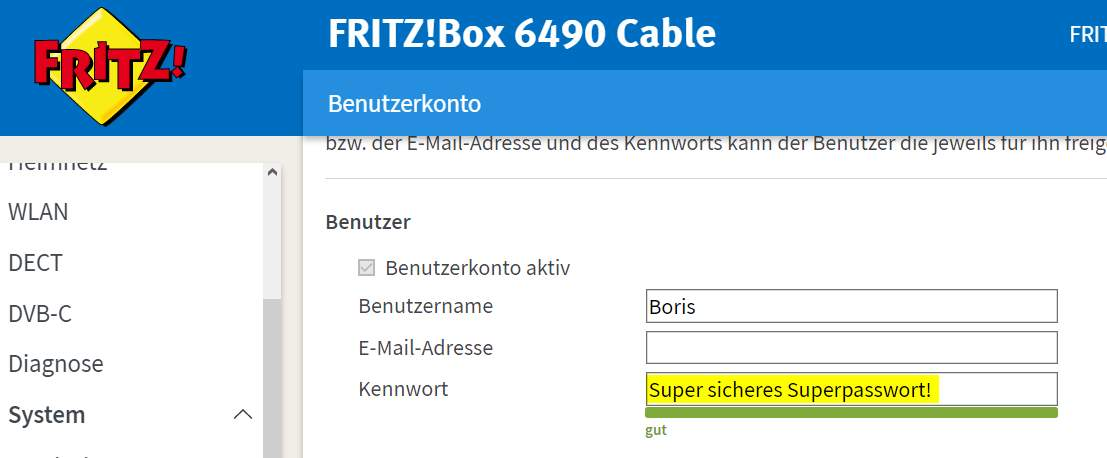 Fritzbox neues Passwort