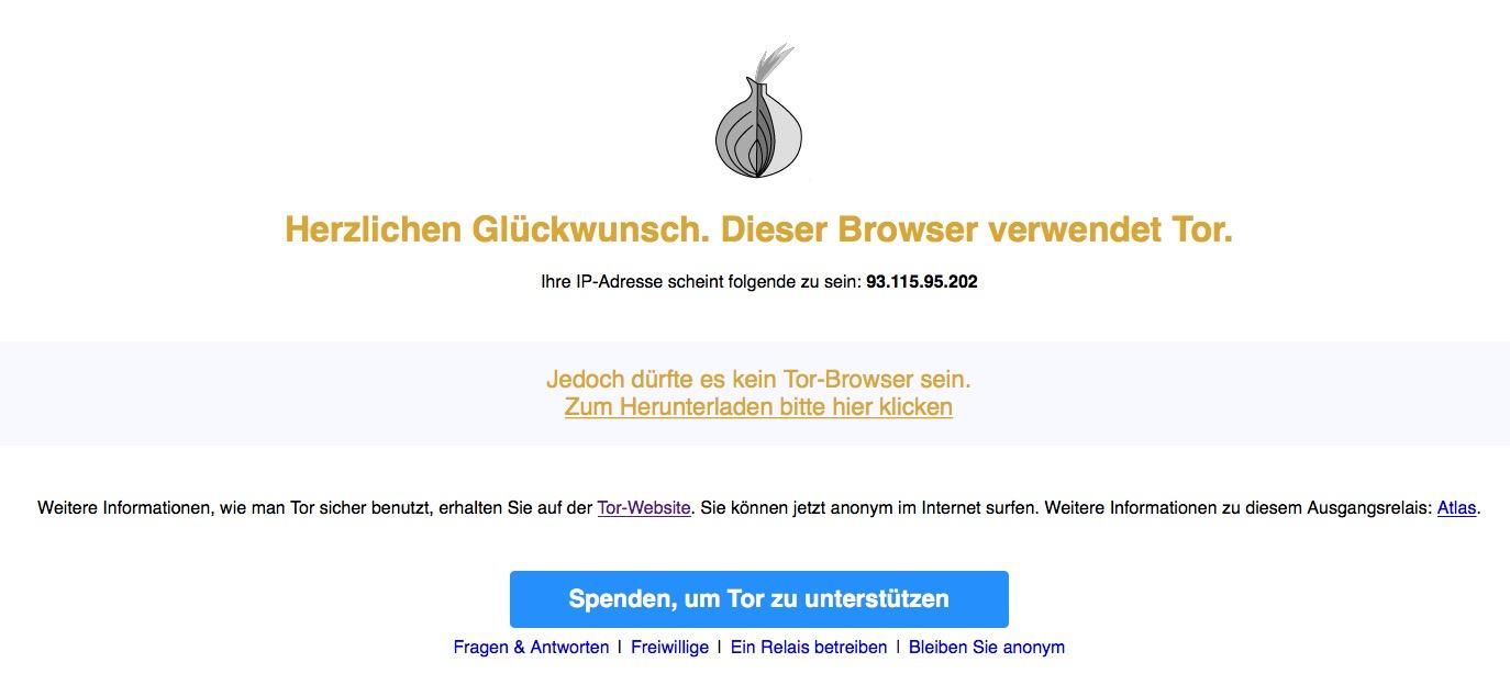 Wird diese Meldung angezeigt, hat alles geklappt: Der Mac ist im Tor-Netzwerk unterwegs.