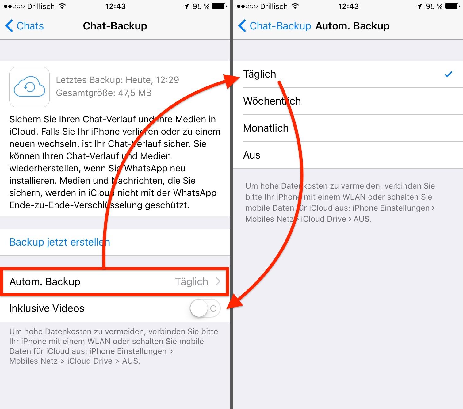 Ihr solltet tägliche automatische Backups einrichten, um sicherzustellen, dass nichts verloren geht. Auf Videos könnt Ihr verzichten.
