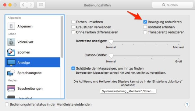 macOS Animationen reduzieren