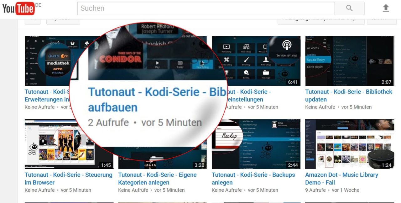 kodi serie liste aller clips bei youtube der tutonaut. Black Bedroom Furniture Sets. Home Design Ideas