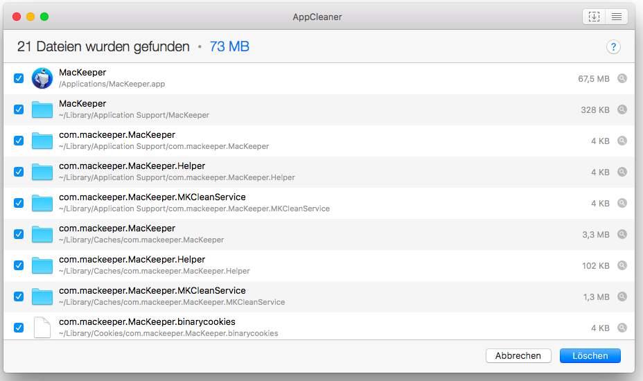 AppCleaner löscht alle Dateien im System, die zu Mackeeper gehören.