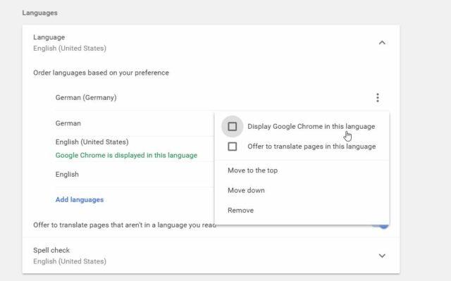 Google Chrome Spracheinstellungen