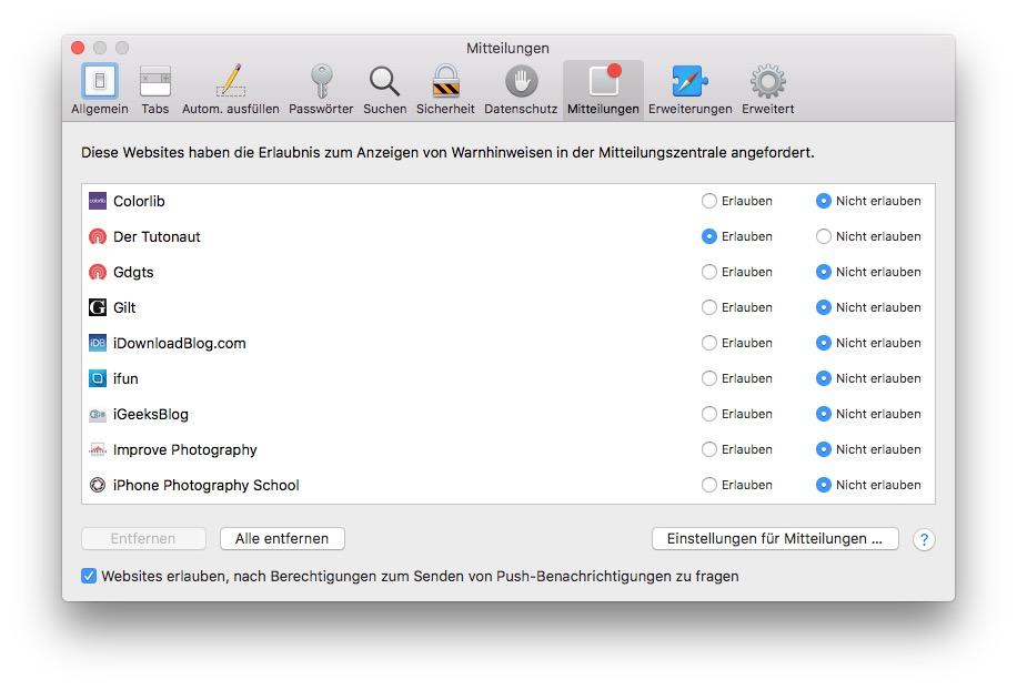 Safari-Push-Mitteilungen lassen sich in den Safari-Einstellungen deaktivieren.