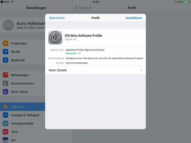 iOS 11 Beta Profil