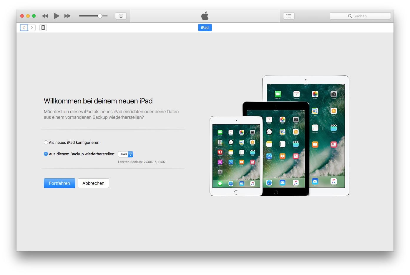 Ihr könnt das lokale Backup von Eurem Mac/PC direkt wieder per iTunes einspielen. Sofern Ihr eins habt.