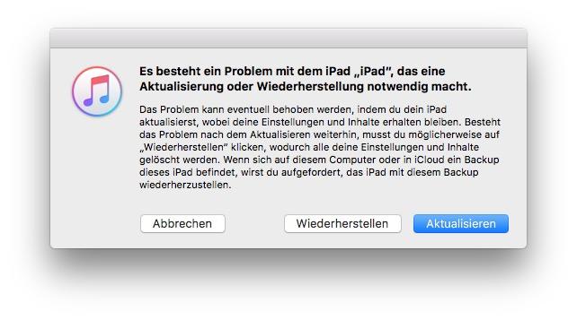 iTunes entdeckt das iPhone oder iPad im Wartungsmodus.
