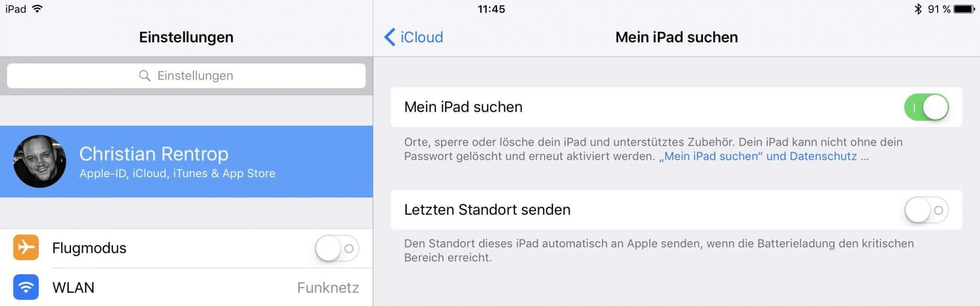 Mein iPad suchen bzw. Mein iPhone suchen deaktivieren!