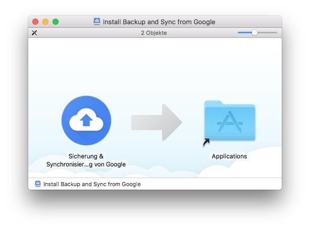 Google Drive-Client installieren und aktivieren.