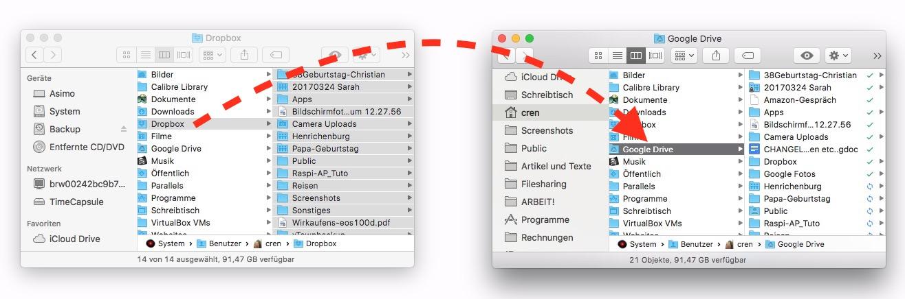 Alle Dateien aus Dropbox nach Google Drive kopieren.